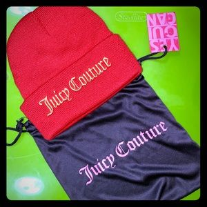 🧢 Juicy Couture red & gold beanie drawstring bag